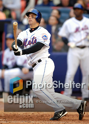 3 April 2006: David Wright, infielder for the New York Mets, at bat during Opening Day play against the Washington Nationals at Shea Stadium, in Flushing, New York. The Mets defeated the Nationals 3-2 to lead off the 2006 MLB season...Mandatory Photo Credit: Ed Wolfstein Photo..