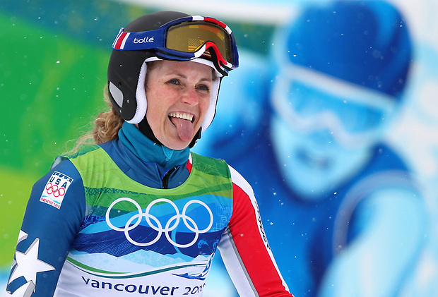 USA's Sarah Schleper reacts to her finish time after her first run in the women's giant slalom at the XXI Olympic Winter Games Wednesday, February 24, 2010 in Whistler, British Columbia.