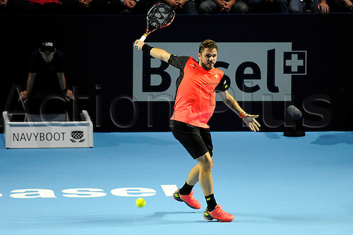 25.10.2016.  St. Jakobshalle, Basel, Switzerland. Basel Swiss Indoors Tennis Championships. Day 2. Stan Wawrinka in action in the match with Marco Chiudinelli of Switzerland
