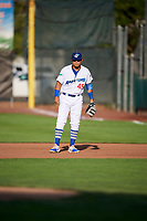 Gersel Pitre (45) of the Ogden Raptors on defense against the Great Falls Voyagers at Lindquist Field on August 16, 2017 in Ogden, Utah. The Voyagers defeated the Raptors 11-6. (Stephen Smith/Four Seam Images)