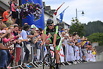 Ryan Mullen (An Post Chain Reaction) crosses the finish line in Multyfarnham to win the Irish National Men's Elite Road Race Championships held over an undulating course featuring 9 laps centered in the village of Multyfarnham, Co.Westmeath, Ireland. 29th June 2014.<br /> Picture: Eoin Clarke www.newsfile.ie