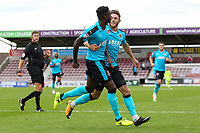 Fleetwood Town's Devante Cole celebrates scoring their first goal with teammate  Wes Burns <br /> <br /> Photographer Andrew Kearns/CameraSport<br /> <br /> The EFL Sky Bet League One - Northampton Town v Fleetwood Town - Saturday August 12th 2017 - Sixfields Stadium - Northampton<br /> <br /> World Copyright &copy; 2017 CameraSport. All rights reserved. 43 Linden Ave. Countesthorpe. Leicester. England. LE8 5PG - Tel: +44 (0) 116 277 4147 - admin@camerasport.com - www.camerasport.com