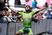 TUNJA - COLOMBIA- 20 - 02 - 2016: Roger Diagama, del equipo Boyacá Raza de Campeones gana la medalla de oro, durante la prueba ruta sub-23 varones entre las ciudades de Paipa y Tunja en una distancia 115,6 km kilometros de Los Campeonato Nacionales de Ciclismo, que se realizan en Boyaca.  / Roger Diagama, of the team Boyacá Raza de Campeones, wins the gold medal, during the route test U-23 men between the towns of Paipa and Tunja at a distance of 115,6 km of the National Cycling Championships performed in Boyaca. / Photo: VizzorImage / Cesar Melgarejo / Cont.