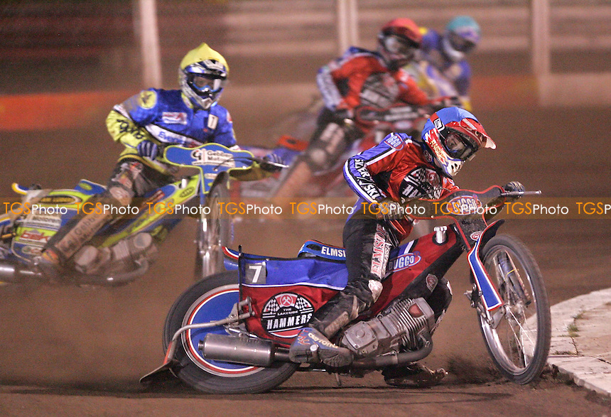Heat 8 - Chris Neath (Blue) of Lakeside leads Tobias Kroner (Yellow) of Ipswich, Paul Hurry (Red) of Lakeside and Kim Jansson (Green) of Ipswich - Lakeside Hammers vs Ipswich Witches at The Arena Essex Raceway, Thurrock - 06/04/07 - MANDATORY CREDIT: Rob Newell/TGSPHOTO
