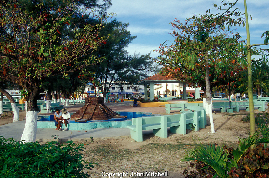 Main square in Puerto Morelos, Quintana Roo, Mexico