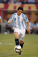 Argentina defender Nicolas Burdisso (4). The men's national teams of the United States and Argentina played to a 0-0 tie during an international friendly at Giants Stadium in East Rutherford, NJ, on June 8, 2008.
