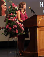 Diana Ratcliff, cousin of Heather Heyer, spoke during a memorial for her Wed., August 16, 2017, at the Paramount Theater in Charlottesville, Va. Heyer was killed the previous weekend when a vehicle drove into a crowd of counter-protestors after the Unite The Right rally. Photo/Andrew Shurtleff