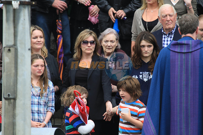 Derek Nally's wife Dairin and children at his Funeral at St. Mary's Church, Drogheda...Photo NEWSFILE.(Photo credit should read NEWSFILE)....This Picture has been sent you under the condtions enclosed by:.Newsfile Ltd..The Studio,.Millmount Abbey,.Drogheda,.Co Meath..Ireland..Tel: +353(0)41-9871240.Fax: +353(0)41-9871260.GSM: +353(0)86-2500958.email: pictures@newsfile.ie.www.newsfile.ie.FTP: 193.120.102.198.