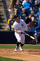 New York Yankees Clint Frazier (77) bats during a Spring Training game against the Toronto Blue Jays on February 22, 2020 at the George M. Steinbrenner Field in Tampa, Florida.  (Mike Janes/Four Seam Images)