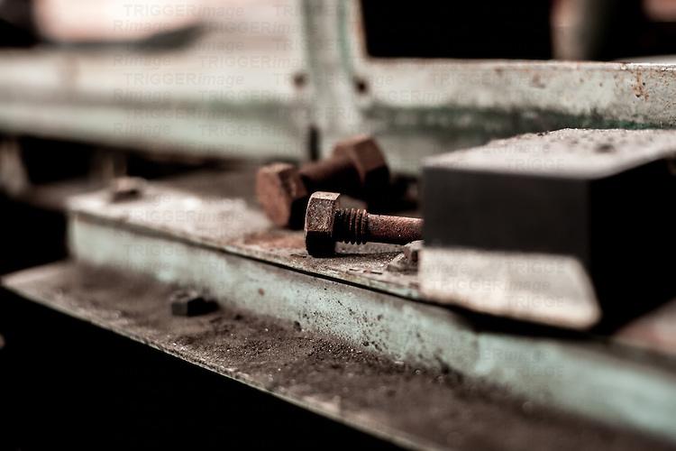 Nuts and bolts start to look lonely in this empty disused warehouse in South Wales