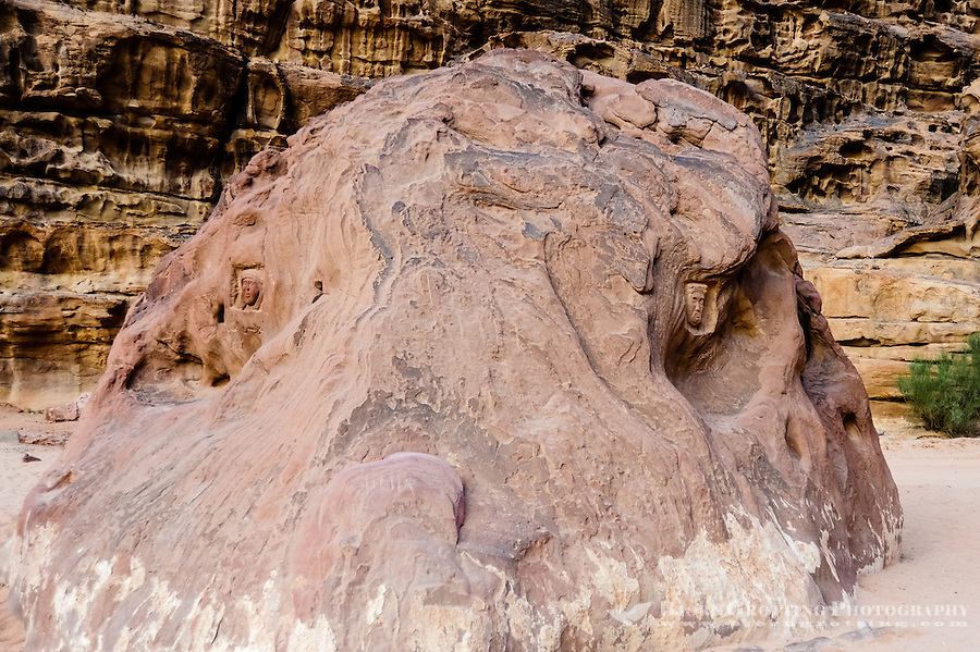 Jordan. Wadi Rum is also known as The Valley of the Moon. A boulder with carvings of Lawrence of Arabia.