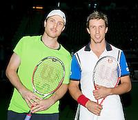 Rotterdam, The Netherlands. 13.02.2014. ABN AMRO World tennis Tournament. Igor Sijsling(NED) and Michael Berrer(DUI)<br /> Photo:Tennisimages/Henk Koster
