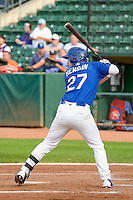 Jake Henson (27) of the Ogden Raptors at bat against the Idaho Falls Chukars in Pioneer League action at Lindquist Field on August 26, 2015 in Ogden, Utah. Ogden defeated the Chukars 5-1.  (Stephen Smith/Four Seam Images)