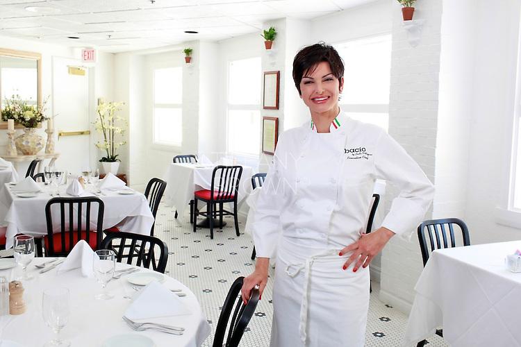 Chef Carla Pellegrino poses in her restaurant,  Bacio by Carla Pellegrino, in Las Vegas on Thursday, June 23, 2011. Photo by Tiffany Brown