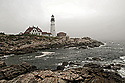 August 4, 2009 / Portland Maine / Nubel Light ad Portland Head Light in fog. photo by Bob Laramie,
