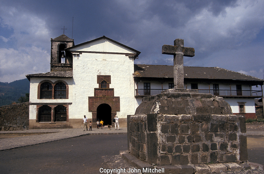 The 16th-century Iglesia de Santiago Apostol in the village of Angahuan, Michoacan, Mexico