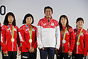 (L-R) Risako Kawai, Sara Dosho,  Shinzo Abe,Saori Yoshida, Eri Tosaka (JPN), <br /> AUGUST 21, 2016 - : <br /> Japanese prime minister Shinzo Abe attended the exchange meeting with Japan National team member and <br /> their medalist<br /> at Japan House in Rio de Janeiro <br /> during the Rio 2016 Olympic Games in Rio de Janeiro, Brazil. <br /> (Photo by Yusuke Nakanishi/AFLO SPORT)