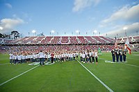 STANFORD, CA - April 14, 2012: Addison Choir singing the National Anthem before the Stanford Cardinal vs San Jose St. game at Stanford Stadium at Sanford, CA. Final score Stanford 20, San Jose St. 17..