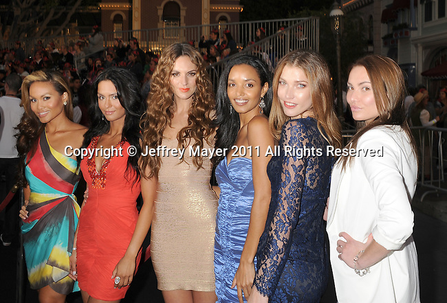 "ANAHEIM, CA - MAY 07: Daphne Joy, Antoinette Niprelaj, Toni Busher, Sanya Hughes, Jorgelina Airaldi, Breanne Beth Bennett arrive to the ""Pirates Of The Caribbean: On Stranger Tides"" World Premiere at Disneyland on May 7, 2011 in Anaheim, California."