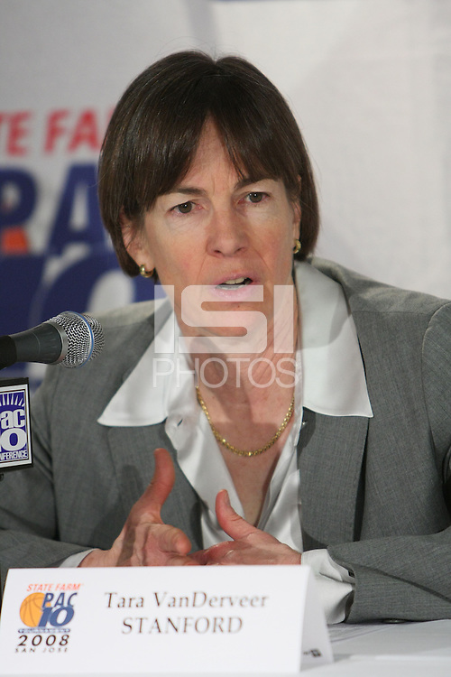 10 March 2008: Stanford Cardinal head coach Tara VanDerveer during Stanford's 56-35 win against the California Golden Bears in the 2008 State Farm Pac-10 Women's Basketball championship game at HP Pavilion in San Jose, CA.