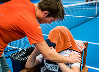 Alphen aan den Rijn, The Netherlands, 25 Januari 2019, ABNAMRO World Tennis Tournament, Supermatch, Final,Winner Ryan Nijboer  (NED) comforts Jesper de Jong (NED)<br />