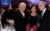 IMF Managing Director Christine Lagarde (L) attends the White House Correspondents' Association annual dinner on April 30, 2016 at the Washington Hilton hotel in Washington.This is President Obama's eighth and final White House Correspondents' Association dinner.<br /> Credit: Olivier Douliery / Pool via CNP