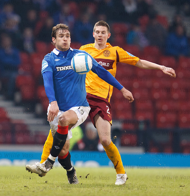 Nikica Jelavic controls the ball from Steven Saunders