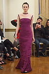Model walks runway in a dress from the Peter Langner Couture Collection 2016 Fall Winter, at the 3 West Club on April 16, 2016 during New York Bridal Fashion Week Spring Summer 2017.