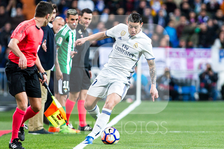 James Rodriguez of Real Madrid in action during the match of Spanish La Liga between Real Madrid and Real Betis at  Santiago Bernabeu Stadium in Madrid, Spain. March 12, 2017. (ALTERPHOTOS / Rodrigo Jimenez)