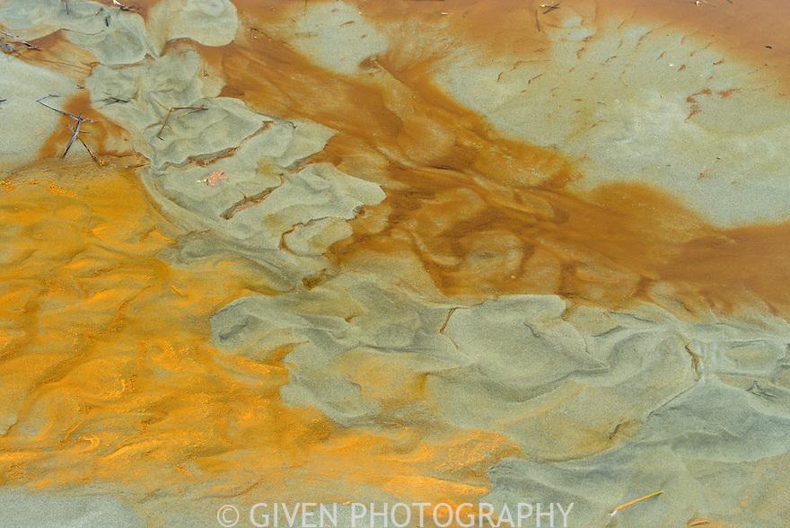 Sand patterns in stream, Washington Coast (iron deposits)