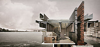 The Jewel of the Thames, Jiaji Shen, 2017. A proposal to transform a disused pier on London's River Thames into a workshop for a designer who makes jewellery with items scavenged from the mud.