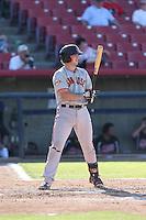 Ty Ross (43) of the San Jose Giants bats during a game against the High Desert Mavericks at Mavericks Stadium on June 14, 2015 in Adelanto, California. High Desert defeated San Jose, 7-5. (Larry Goren/Four Seam Images)