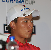 Phachara Khongwatmai (Asia) during an interview after the Friday Foursomes of the Eurasia Cup at Glenmarie Golf and Country Club on the 12th January 2018.<br /> Picture:  Thos Caffrey / www.golffile.ie