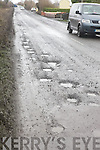 HOLES: Some of the many hundreds of potholes on the main Listowel to Ballybunion road.