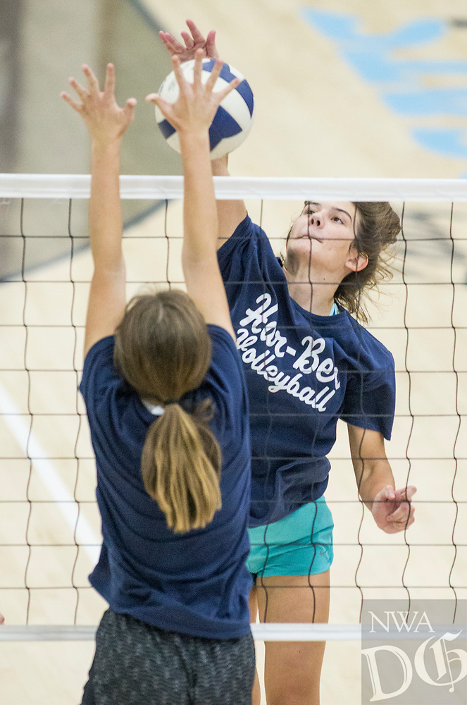NWA Democrat-Gazette/BEN GOFF @NWABENGOFF<br /> Jayci Carpenter, Springdale Har-Ber senior, hits Thursday, Aug. 9, 2018, during volleyball practice at Wildcat Arena in Springdale.