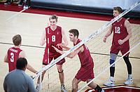 STANFORD, CA - March 14, 2019: Paul Bischoff, Leo Henken, Jordan Ewert, Kyler Presho at Maples Pavilion. The #8 Stanford Cardinal fell to the #6 Pepperdine Waves 3-0.