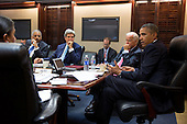 United States President Barack Obama meets with his National Security Staff to discuss the situation in Syria, in the Situation Room of the White House, August 30, 2013. From left at the table: National Security Advisor Susan E. Rice; Attorney General Eric Holder: Secretary of State John Kerry; and Vice President Joe Biden. <br /> Mandatory Credit: Pete Souza - White House via CNP