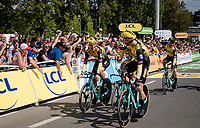 Last team to start is also the winning team at the finish; Team Jumbo-Visma wins the TTT and (almost) all of the jerseys > their post-finish joy is as high<br /> <br /> Stage 2 (TTT): Brussels to Brussels (BEL/28km) <br /> 106th Tour de France 2019 (2.UWT)<br /> <br /> ©kramon