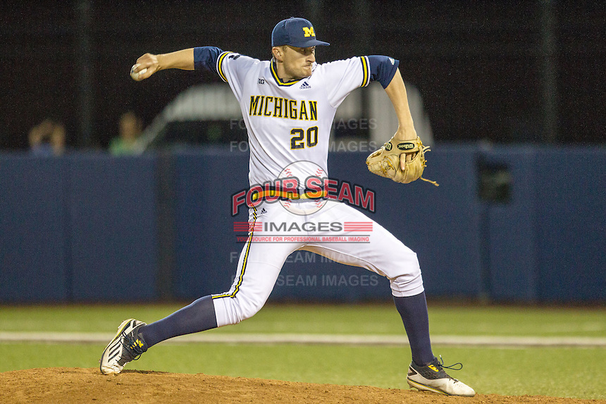 Michigan Wolverines pitcher Jayce Vancena (20) delivers a pitch to the plate against the Oakland Golden Grizzlies on May 17, 2016 at Ray Fisher Stadium in Ann Arbor, Michigan. Oakland defeated Michigan 6-5 in 10 innings. (Andrew Woolley/Four Seam Images)