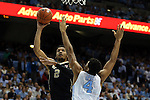 20 January 2016: Wake Forest's Devin Thomas (2) and North Carolina's Isaiah Hicks (4). The University of North Carolina Tar Heels hosted the Wake Forest University Demon Deacons at the Dean E. Smith Center in Chapel Hill, North Carolina in a 2015-16 NCAA Division I Men's Basketball game. UNC won the game 83-68.