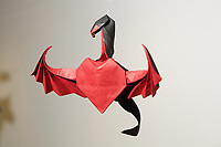 New York, NY, USA - June 24-25, 2017: OrigamiUSA 2017 Convention at St. John's University, Queens, New York, USA. Exhibition of models designed and folded by guest artist Daniela Carboni.