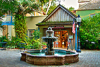 Fountain in courtyard off St. George Street in historic downtown St. Augustine, Florida