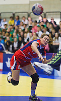 22 MAR 2012 - LOUGHBOROUGH, GBR - Great Britain's Ewa Palies (GBR) shoots during the women's 2012 European Handball Championships qualification match against Poland at Loughborough University in Loughborough, Great Britain .(PHOTO (C) 2012 NIGEL FARROW)