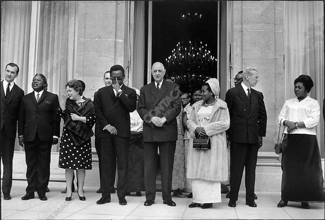 Charles De Gaulle with General Sese Seko Mobutu, President of Zaire, and his wife, Elysee Palace, Paris, France, March 1969