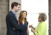 NWA Democrat-Gazette/BEN GOFF @NWABENGOFF<br /> Cheryl Westmoreland (rigth) of Rogers chats with U.S. Sen. Tom Cotton (R-Ark.) and wife Anna Cotton Thursday, April 20, 2017, while attending the second installment of the Winthrop Paul Rockefeller Distinguished Lecture Series presented by the United States Marshals Museum, at the Fort Smith Convention Center in Fort Smith.