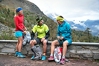 Runners getting ready to go at a mountain lodge on the last day of the Via Valais, a multi-day trail running tour connecting Verbier with Zermatt, Switzerland.