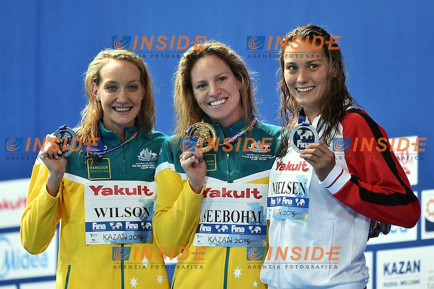 WILSON Madison AUS Silver Medal, SEEBOHM Emily AUS Gold Medal, NIELSEN Mie Oe Den Bronze, Women's 100m Backstroke <br /> Day12 04/08/2015 Kazan Arena <br /> Swimming Nuoto <br /> XVI FINA World Championships Aquatics  <br /> Kazan Tatarstan RUS <br /> Photo Andrea Staccioli/Deepbluemedia/Insidefoto