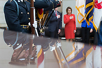 The Honor Guard is reflected as they stand at attention as the United States National Anthem is played during a ceremony dedicating a chair in the United States Capitol Building to honor United States soldiers labeled as 'Prisoners of War' or 'Missing in Action' at the United States Capitol Building in Washington, D.C. on November 8th, 2017. <br /> Credit: Alex Edelman / CNP /MediaPunch