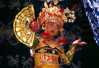 Young Balinese dancer performs legong, Peliatan, Bali, Indonesia