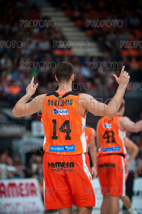 VALENCIA, SPAIN - OCTOBER 18: Dubljevic during ENDESA LEAGUE match between Valencia Basket Club and FIATC Joventut at Fonteta Stadium on October 18, 2015 in Valencia, Spain